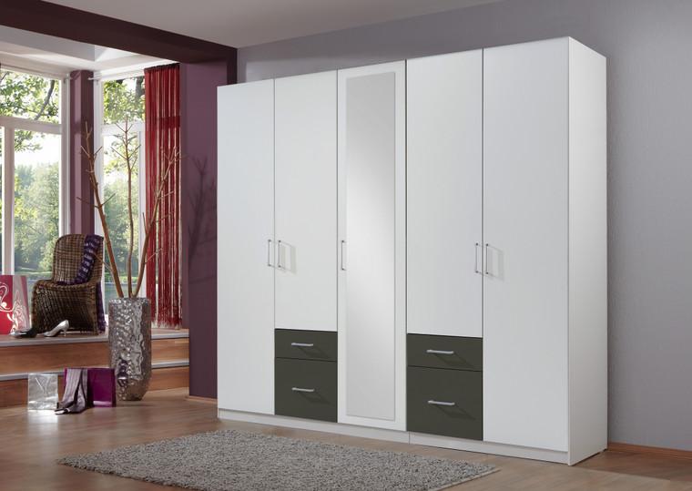 Tesoro 5 Door With Graphite 4 Drawer Wardrobe