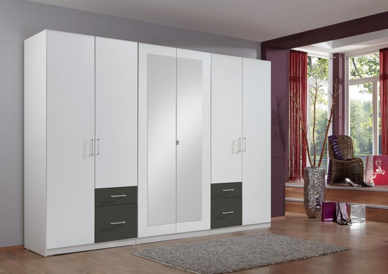 Tesoro 6 Door With Graphite 4 Drawer Wardrobe