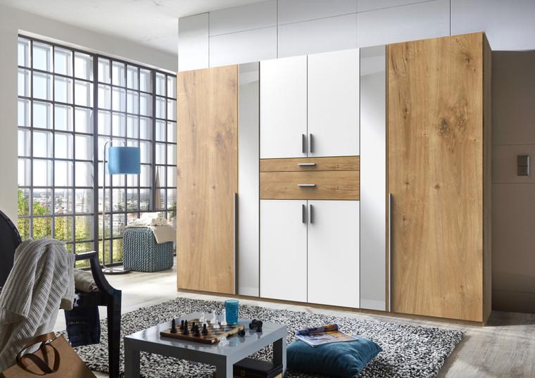 Tesoro White And Planked Oak 6 Door wardrobe