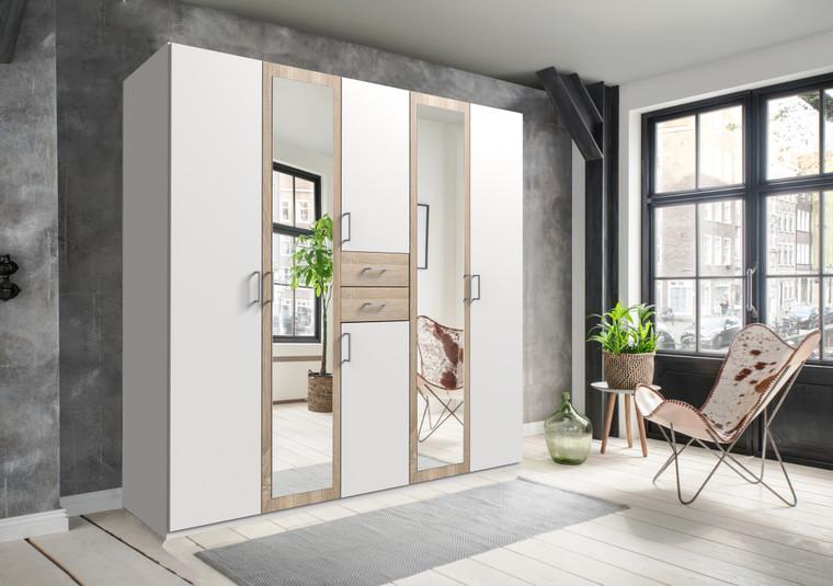 Tesoro White And Oak 5 Door 2 Drawer Wardrobe
