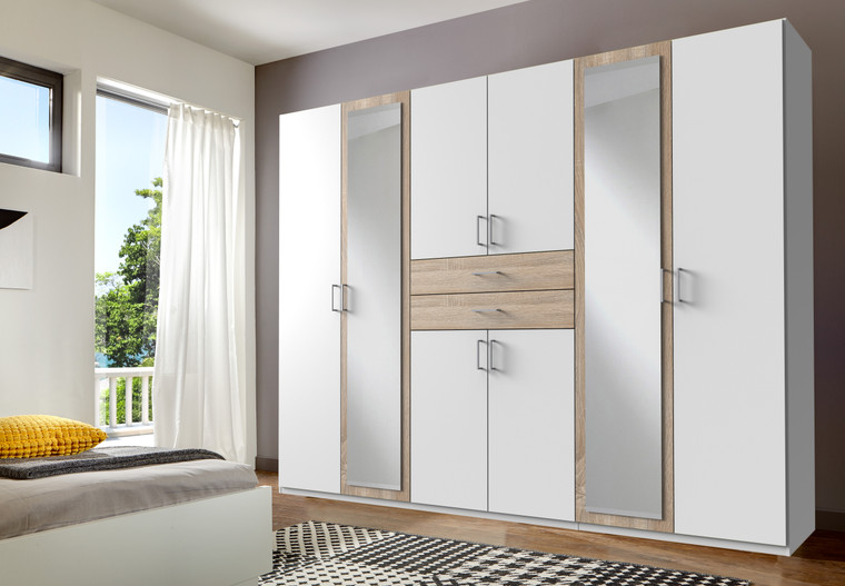 White And Oak 6 Door wardrobe