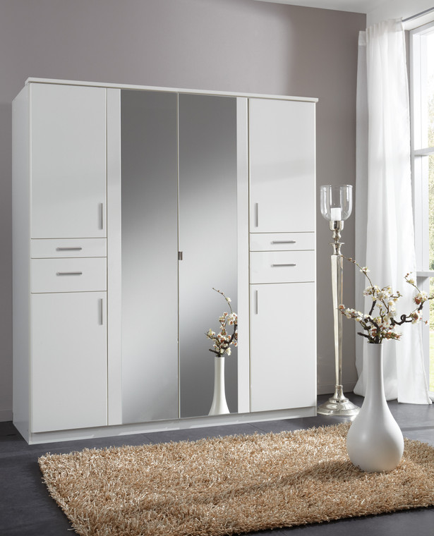 Tesoro White 4 Door 4 Drawer And 2 Mirror Wardrobe