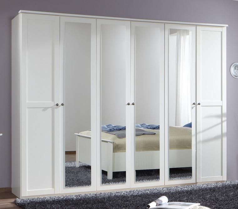 Tesoro 6 door 4 mirror white wardrobe