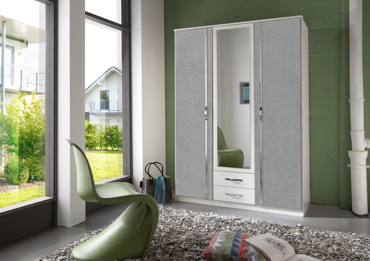 Tesoro 3 Door 2 Drawer Mirror Grey And WHite