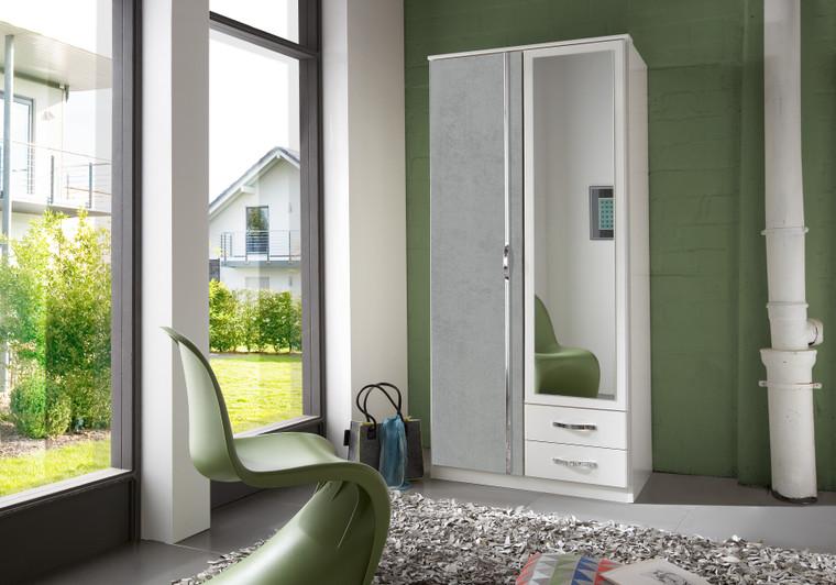 Tesoro  White And Grey 2 Door Wardrobe