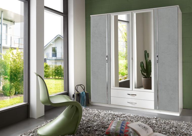 Tesoro 4 Door 2 Drawer And 2 Mirror Grey And White Wardrobe