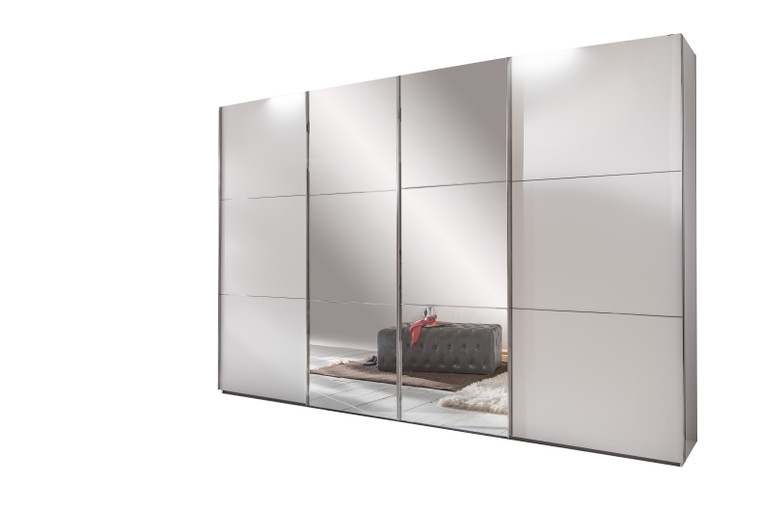 Tesoro 4 sliding door wardrobe with the two centre doors fitted with mirror glass