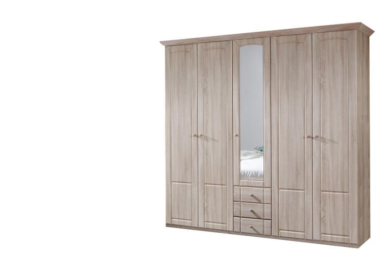Tesoro 5 Door 3 Drawer Oak Wardrobe