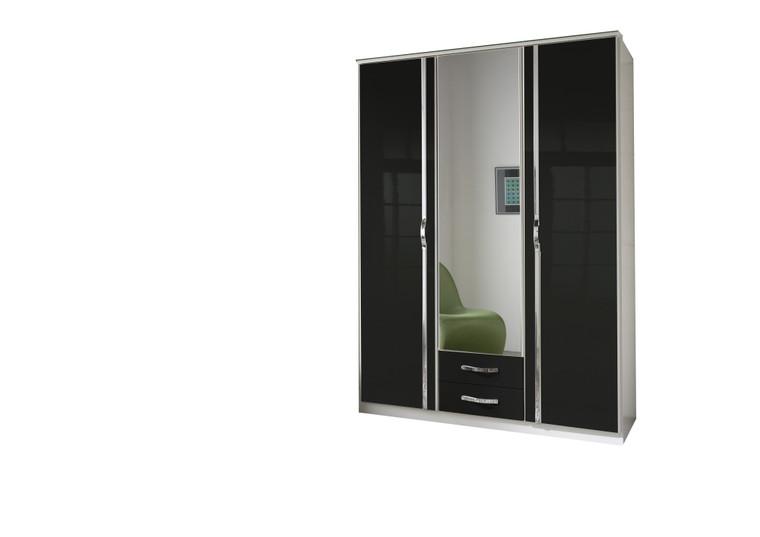 Tesoro White And Black Gloss 3 Door  two Drawer Wardrobe