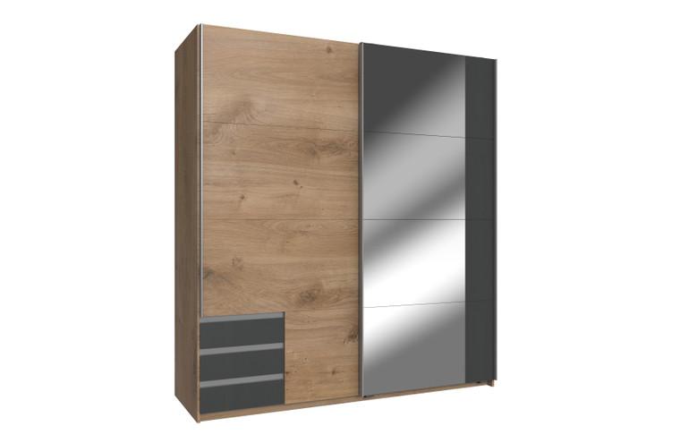 Tesoro Planked Oak And graphite Finish 180 Full Mirrored Sliding Wardrobe