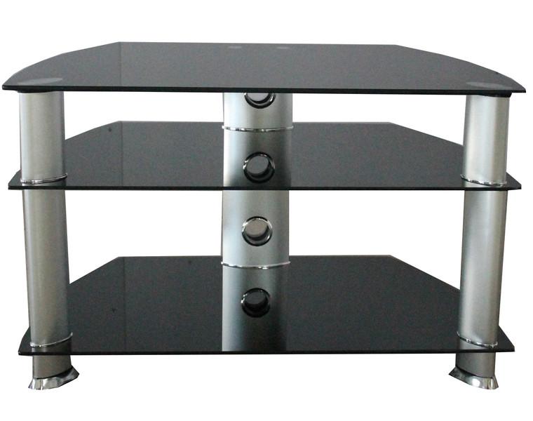 Tesoro black 3 glass shelves
