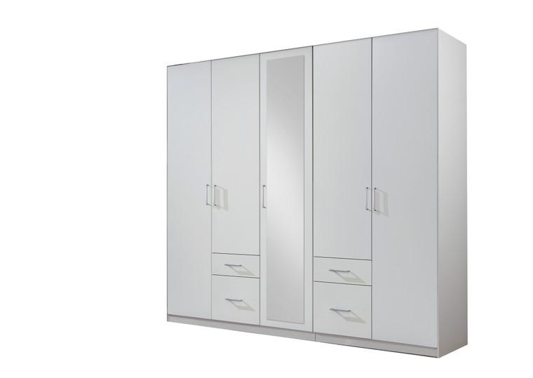 Tesoro 5 Door 4 Drawer White Wardrobe
