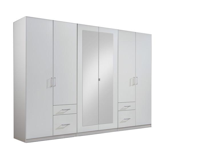 Tesoro  6 Door 4 Drawer White Wardrobe