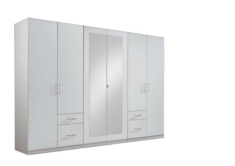 Tesoro 6 door Mirrored and 4 drawer white