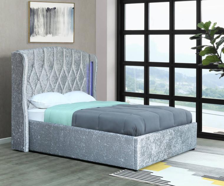 Mayfair Ottoman Kingsize/Double size Bed Frame Crush Silver