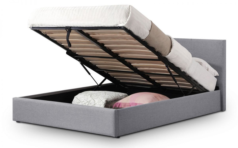 RIALTO LIFT-UP STORAGE BED IN LINEN FABRIC