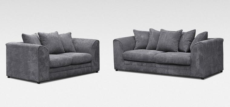 Dallas Fabric Sofa Set 3 + 2 Seater Grey Jumbo Cord
