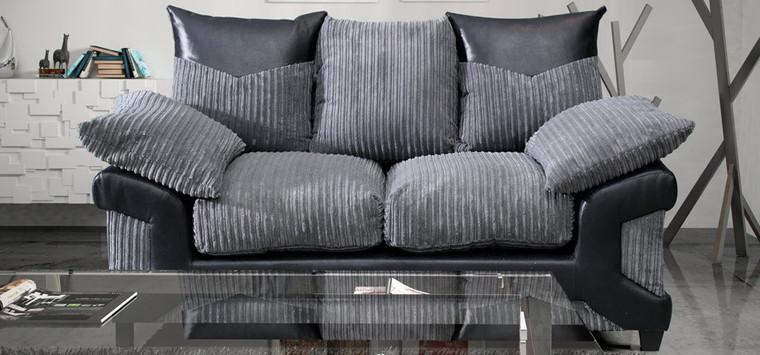 Dalphin Fabric Black and Grey Sofa Set 3 + 2 Seater Monty Metropolis