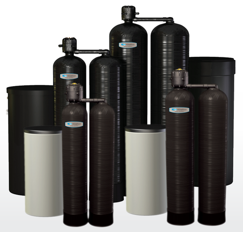 Kinetico's CP lineup with Brine tanks shown