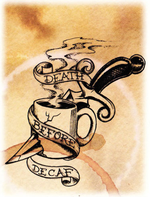 Dave Bobrick Greeting Card - Death Before Decaf