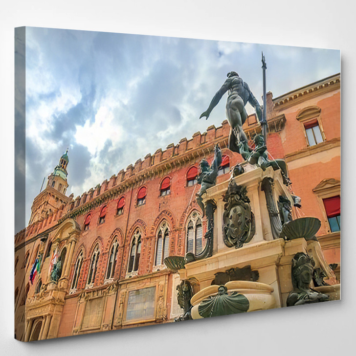 Nettuno 1567 Bronze Statue Fountain Front - Landmarks and Monuments Canvas Wall Art