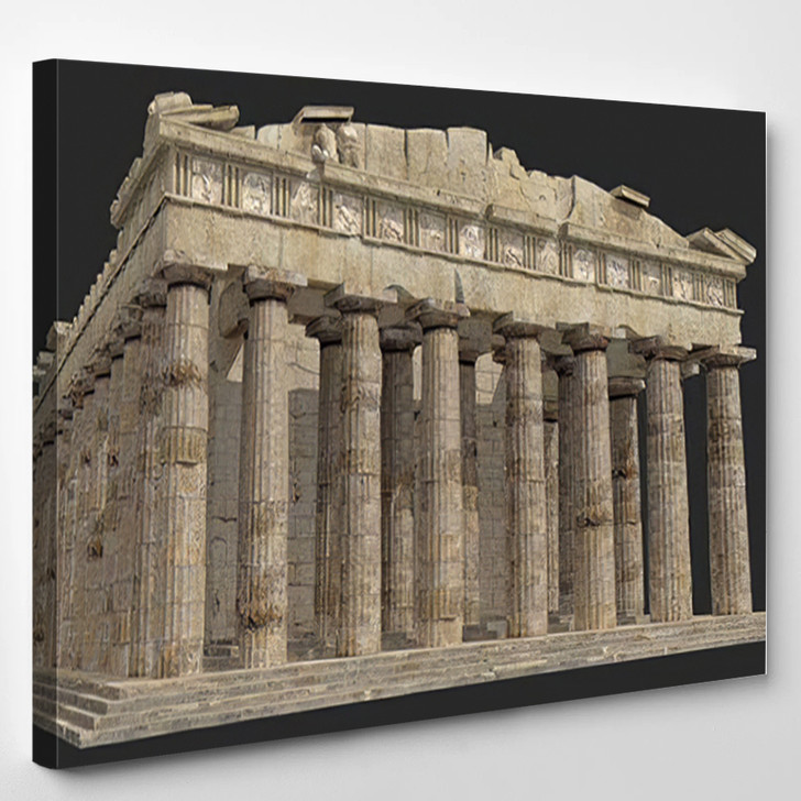3D Render Parthenon Against Grey Background - Landmarks and Monuments Canvas Wall Art