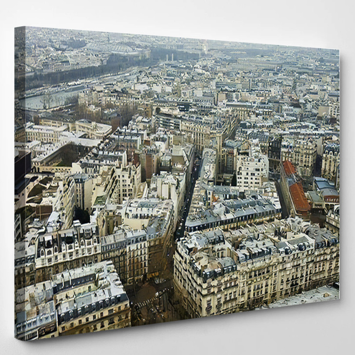 8Th Quartier Bird Eye View Located - Landmarks and Monuments Canvas Wall Art