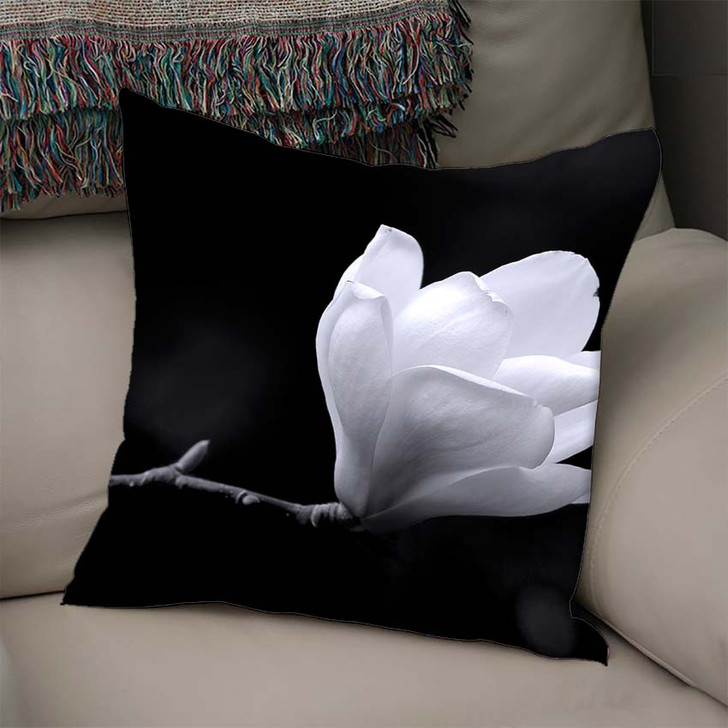 A Black And White Fine Art Portrait Of The Flower From A Magnolia Tree - Nature Linen Pillow