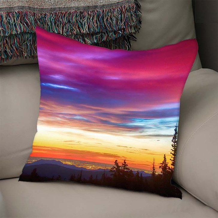 A Beautiful Colorful Epic Sunrise Over The City Lights Of Boulder Colorado - Nature Linen Pillow