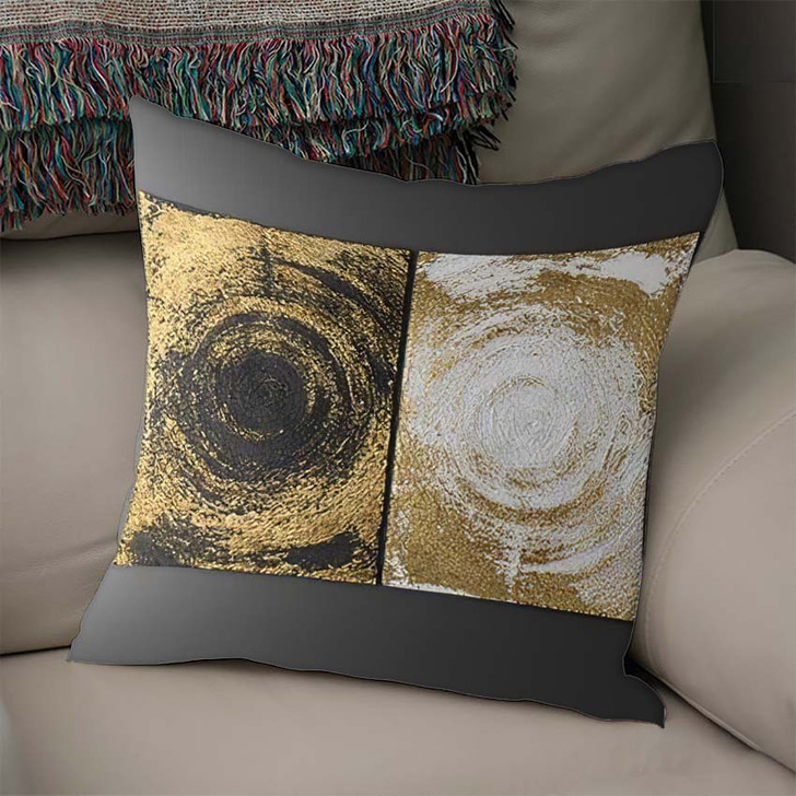 3D Wall Art Paintings Gold Leaf - Paintings Linen Pillow