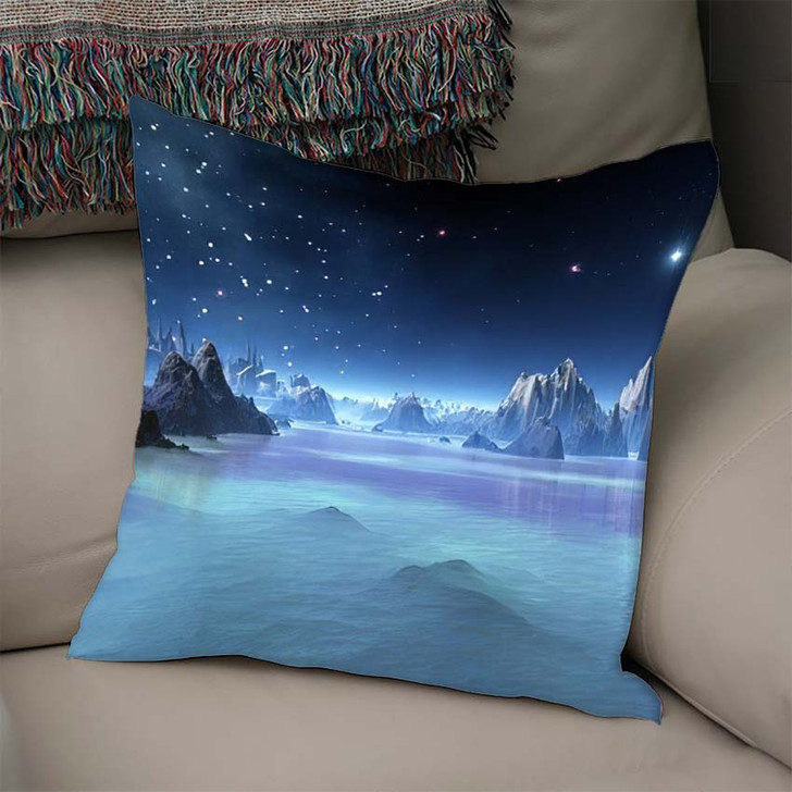 3D Created Rendered Fantasy Alien Planet - Fantasy Linen Pillow For Sale