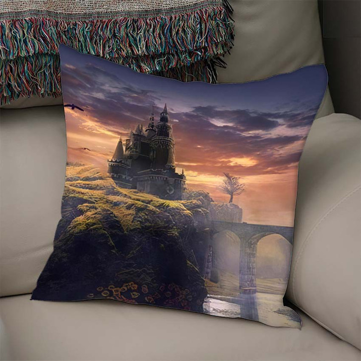 3D Illustration Castle On Hill Sunrise - Fantasy Linen Pillow For Sale