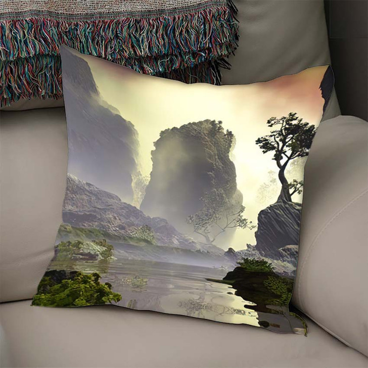 3D Illustration Landscape Fancy Concept Which - Fantasy Linen Pillow