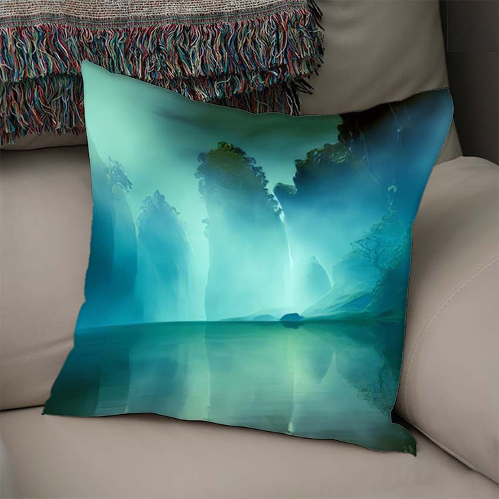 3D Illustration Landscape Various Rocky Formations - Fantasy Linen Pillow For Sale