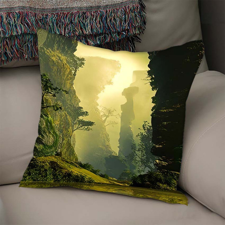 3D Illustration Landscape Where One Observes 1 1 - Fantasy Linen Pillow