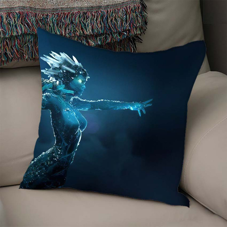 3D Illustration Render Stone Girl Glowing - Fantasy Linen Pillow For Sale