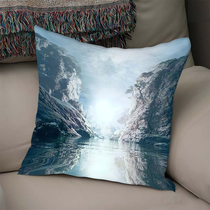 3D Landscape Illustration Where Observed Two - Fantasy Linen Pillow For Sale