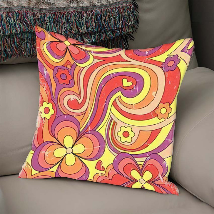 1960S 1970S Hippie Style Psychedelic Art - Psychedelic Linen Pillow For Sale