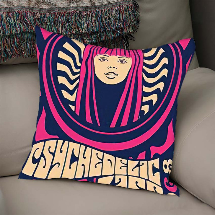 1960S 1970S Psychedelic Art Poster Hippie - Psychedelic Linen Pillow For Sale