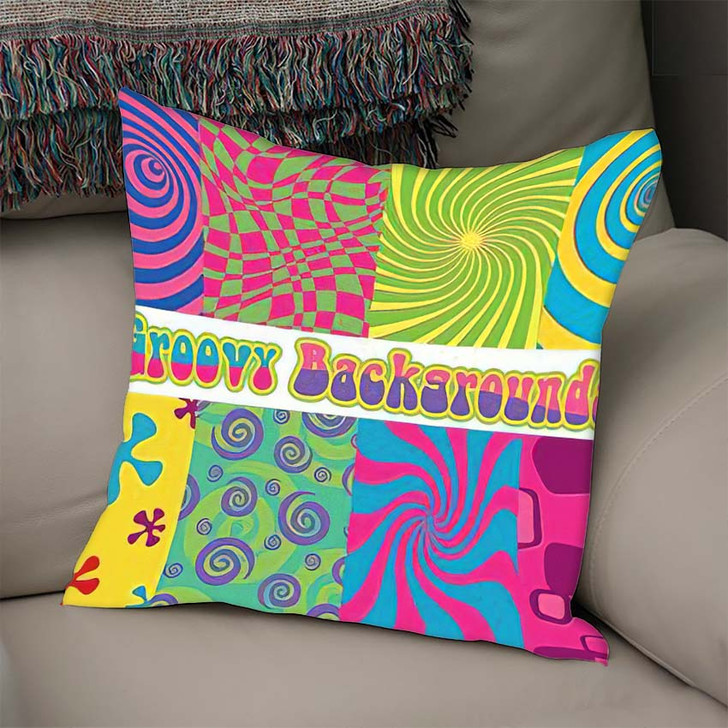 1960S Psychedelic Backgrounds Bright Colors Vintage - Psychedelic Linen Pillow For Sale