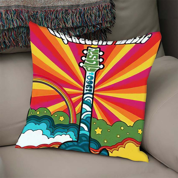 1960S Psychedelic Poster Vintage Colors Electric - Psychedelic Linen Pillow For Sale