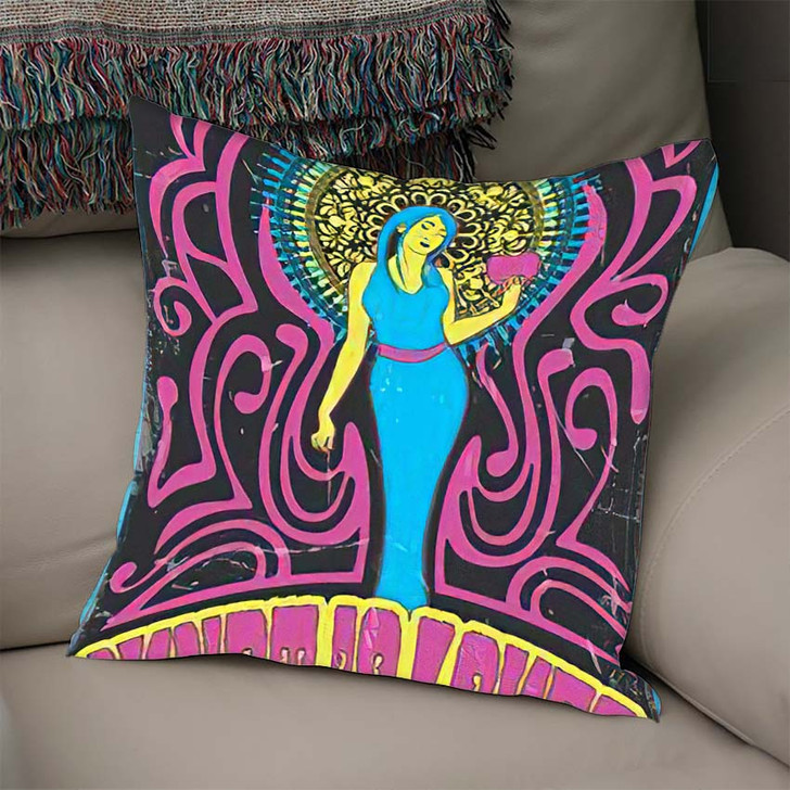 1970S Style Psychedelic Art Woman Heart - Psychedelic Linen Pillow