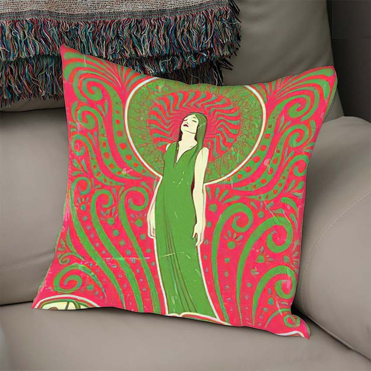 1970S Style Psychedelic Art Woman Love - Psychedelic Linen Pillow For Sale