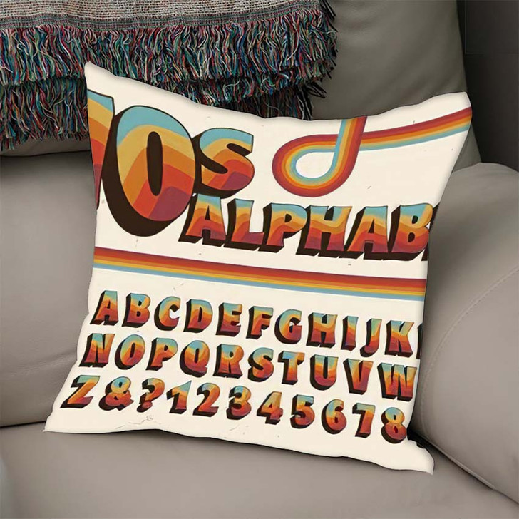 1970Sstyle Alphabet Rainbow Stripe Embellishments - Psychedelic Linen Pillow For Sale