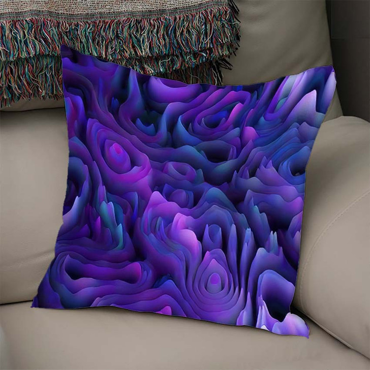 3D Abstract Seamless Pattern Organic Gradient - Psychedelic Linen Pillow For Sale