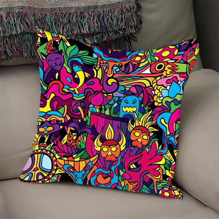 60S Hippie Psychedelic Art Seamless Pattern - Psychedelic Linen Pillow