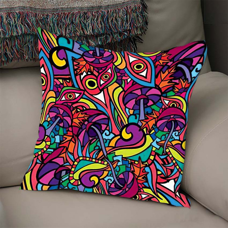 60S Hippie Psychedelic Art Seamless Pattern 2 - Psychedelic Linen Pillow