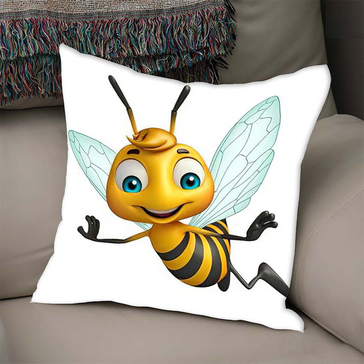 3D Rendered Illustration Bee Funny Cartoon - Cartoon Linen Pillow For Sale