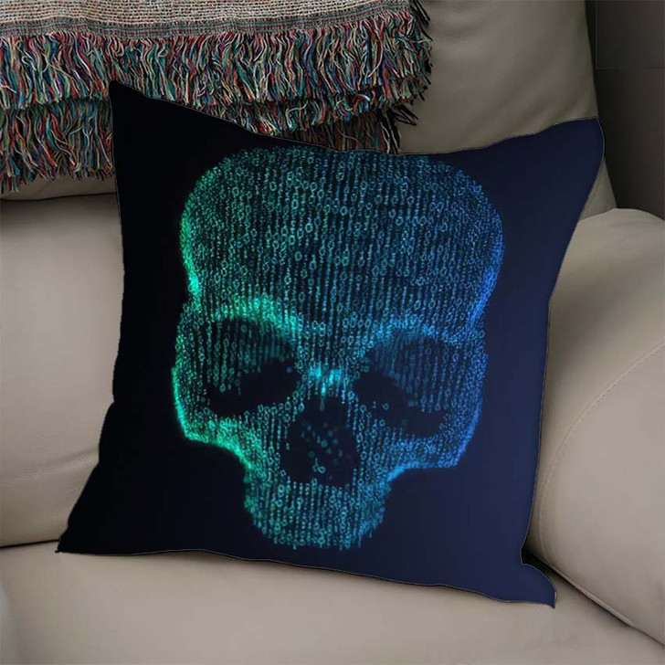 3D Illustration Digital Skull Made Binary - Skull Linen Pillow For Sale