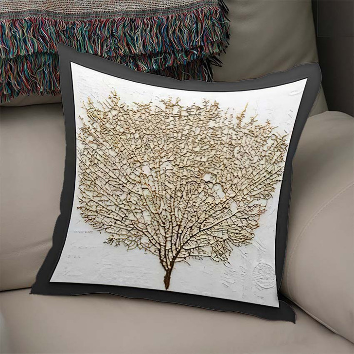 3D Render Picture Gold Coral - Abstract Art Linen Pillow